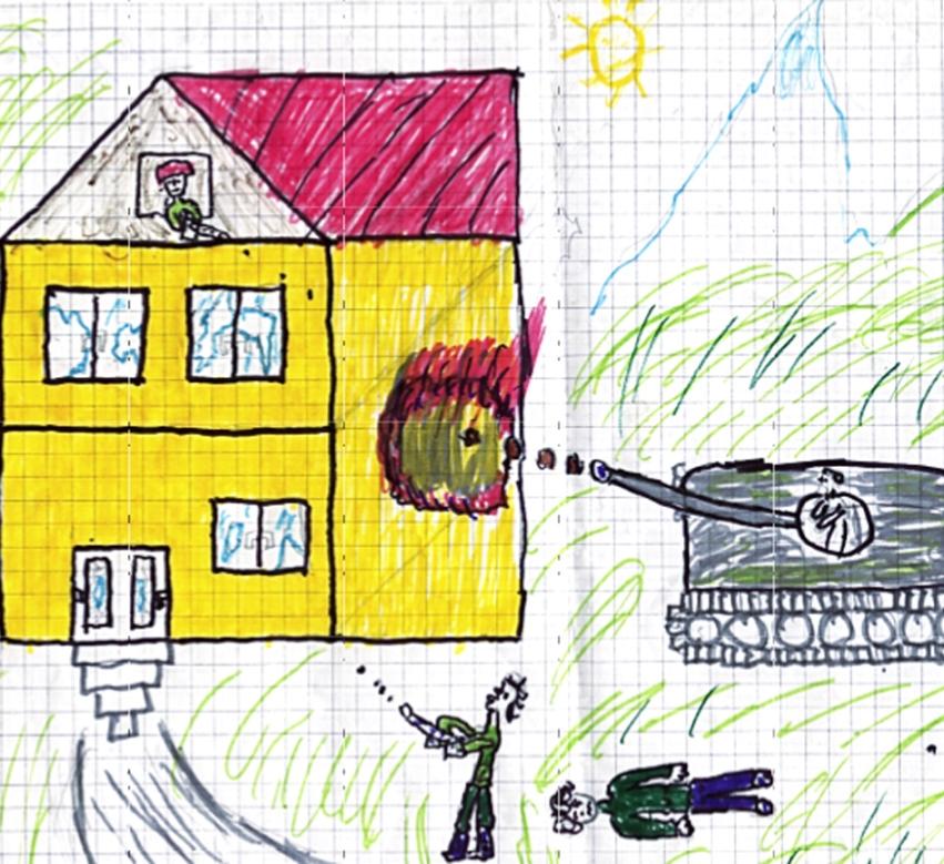 zeichnung Panzer gewalt